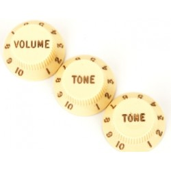 Stratocaster Knobs, Aged White (Volume,Tone,Tone) (Set of 3) Fender