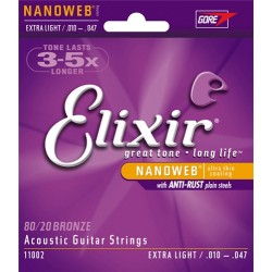 Elixir 11002 80/20 Bronze Ultra-Thin NanoWeb coating Extra Light