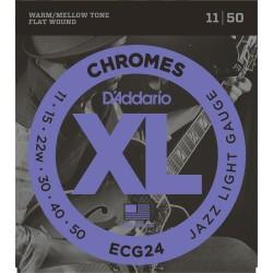D'Addario ECG24 Chromes per chitarra elettrica, Flat Wound, Jazz Light, 11-50