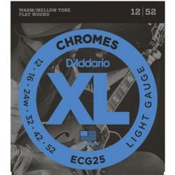 D'Addario ECG25 Chromes per chitarra elettrica, Flat Wound, Light, 12-52
