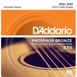 D'Addario EJ15 per chitarra acustica, in bronzo fosforoso, Extra Light, 10-47
