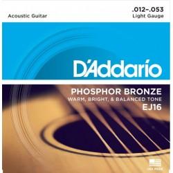 D'Addario EJ16 in bronzo fosforoso per chitarra acustica, Light, 12-53