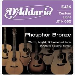 D'Addario EJ26 per chitarra acustica in bronzo fosforoso, Custom Light, 11-52