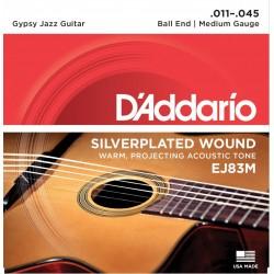 D'Addario EJ83M per chitarra acustica Gypsy Jazz, con pallino finale, Medium, 11-35