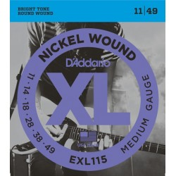 D'Addario EXL115 per chitarra elettrica, Nickel Wound, Medium/Blues-Jazz Rock, 11-49