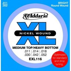 D'Addario EXL116 per chitarra elettrica, Nickel Wound, Medium Top/Heavy Bottom, 11-52
