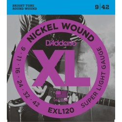 D'Addario EXL120  chitarra elettrica, Nickel Wound, Regular Light, 9-42