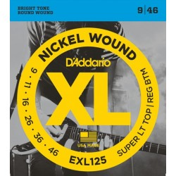 D'Addario EXL125 per chitarra elettrica, Nickel Wound, Super Light Top/Regular Bottom, 9-46