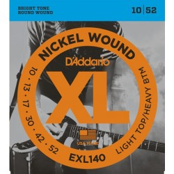 D'Addario EXL140 per chitarra elettrica, Nickel Wound, Light Top Heavy Bottom, 10-52