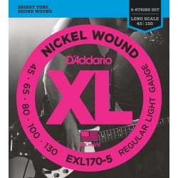 D'Addario EXL170-5 per basso 5 corde, Regular Light Gauge, 45-130, Long Scale