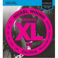 D'Addario EXL170-6 per basso 6 corde, Regular Light Gauge, 32-130, Long Scale