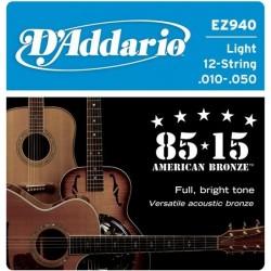 D'Addario EZ940 per chitarra acustica 12 corde, Light, 010-050