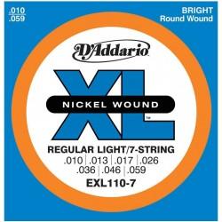 D'Addario EXL110-7 per chitarra elettrica, 7 corde, Nickel Wound, Regular Light, 10-59