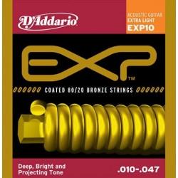 D'Addario EXP10 per chitarra acustica, con rivestimento, 80/20, Extra Light, 10-47