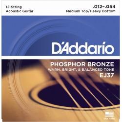 D'Addario EJ37 in bronzo per chitarra acustica, 12 corde, Medium Top/Heavy Bottom, 12-54