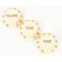 Stratocaster Knobs Aged White (Volume, Tone, Tone) (set of 3)