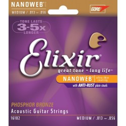 Elixir 16102 Phosphor Bronze Ultra-Thin NanoWeb coating Medium