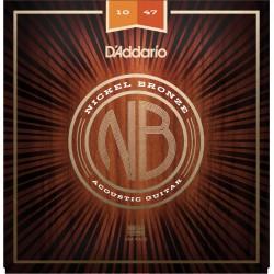 D'Addario NB1047 Nickel Bronze chitarra acustica, Extra Light, 10-47