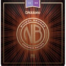 D'Addario NB1152 Nickel Bronze chitarra acustica, Custom Light, 11-52