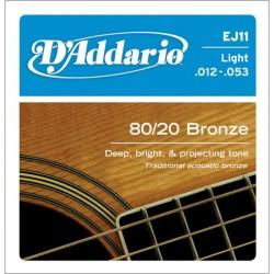 D'Addario EJ11 muta acustica 80/20 bronze lite 12-53