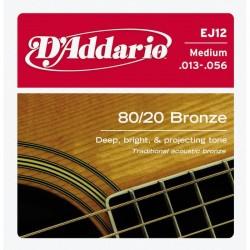 D'Addario EJ12 muta acustica 80/20 bronze medium 13-56