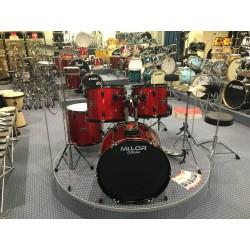 L-1010 MR Drum Set 5 pezzi completa di meccaniche piatti sgabello colore rosso Mi.Lor Drum