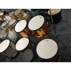 L-1010 YE Drum Set 5 pezzi completa di meccaniche piatti sgabello colore giallo arancio Mi.Lor Drum