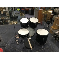 L-1010 BK Drum Set 5 pezzi completa di meccaniche piatti sgabello colore nero Mi.Lor Drum