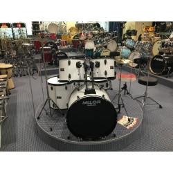 L-1010 WH Drum Set 5 pezzi completa di meccaniche piatti sgabello colore bianco Mi.Lor Drum