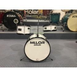 Mi.Lor Drum E-700AWH Junior Drum set 3 pezzi completa di meccanica piatti sgabello colore bianco