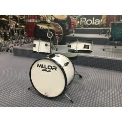 E-700AWH Junior Drum set 3 pezzi completa di meccanica piatti sgabello colore bianco Mi.Lor Drum