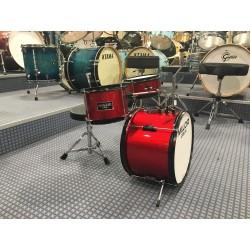 Mi.Lor Drum E-700AMR Junior Drum set 3 pezzi completa di meccanica piatti sgabello colore rosso