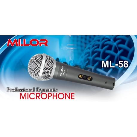 Mi.Lor Kit composto da FM58 microfono con cavo + MS080 asta + MSA020 clip a pinza