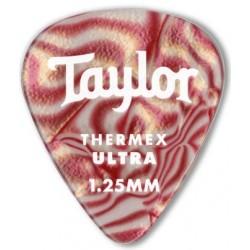 Taylor Confezione da 6 plettri Premium 351 Thermex Ultra Guitar Picks Ruby Swirl 1,25 mm